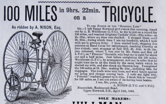 Advertisement from CTC Monthly Gazette May 1883 – from Alfred Nixon of Bracondale Rockmount Road