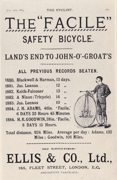 Advertisement from The Cyclist 4 June 1884 featuring Alfred Nixon